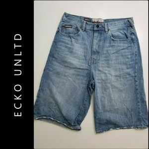 Ecko Unlimited Men Denim Baggy Fit Shorts Size 34